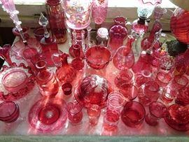 Amazing cranberry glass collection - documents shows dates of purchased - a lot in the 1930's