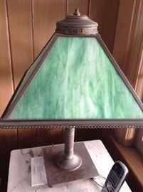 Antique stained glass brass lamp