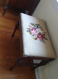 Antique needlepoint bench