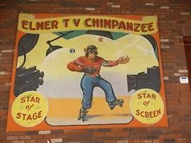 "O'Henry ""ELMER TV CHIPMANZEE"" CIRCUS BANNER, 8 FT X 8 FT."