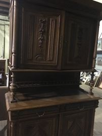 beautiful hand carved hutch