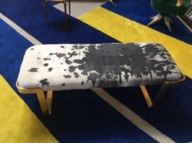 """brass seat with special """"art"""" upholstery"""
