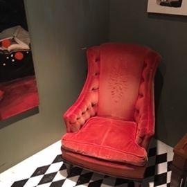 red velvet upholstered seat