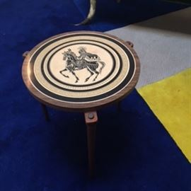 Greek-icon side table. 17ft by 11ft modern rug