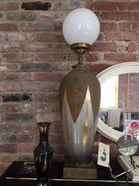 globe lamp, vase, and mirror