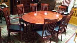 """GORGEOUS SOLID """"CHERRY"""" WOOD EXTRA-LARGE DINING ROOM SET WITH EIGHT (8) LOVELY REUPHOLSTERED CHAIRS AND TWO (2) 20"""" LEAVES!!!  SOLD!"""