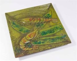 Lot 22: Cast Iron Paint Decorated Japanese Tray