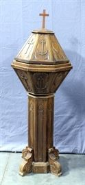 """Catholic Baptismal Font with Cover, Carved Heart, Cross, and Anchor Symbolizing Love, Faith, and Hope, Scrolled Feet, 20""""W x 60""""H"""