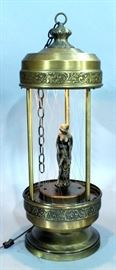 """Vintage Hanging Mineral Oil Motion Rain Lamp, Nude Goddess, 28""""T, Powers Up"""
