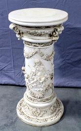 "Resin Column with Ornate Venus Disarming Cupid Relief Scene, 32""H x 14""Dia"