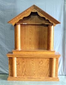 """Handcrafted Alter made by Mennonite Craftsman for Home Chapel, Hand Hewn Columns made with Draw Knife, 58""""W x 81.5""""H x 14"""