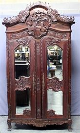 """Hand Carved Filipino Mahogany Knockdown Armoire / Wardrobe with Beveled Mirror Front, Approximately 50"""" x 9 Feet x 24"""""""
