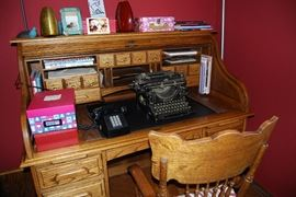 Oak Roll Top Desk and Chair, Underwood Typewriter, Vintage Telephone, Decor