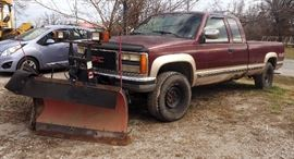 "1993 GMC Sierra Pickup Truck, VIN # 1GTHK39F6PE559250, 4WD, V8, with 8'2"" Poly-V Snow Plow, In Cab Controls, Powder Coated Rims"