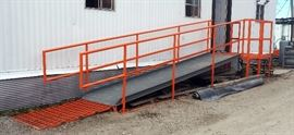"Custom Built Powder Coated Handicap Accessible Ramp/Stair Combo With Handrails and Slip-Resistant Tread, Landing: 53"" x 61"" x 67""T, Ramp 38.5""W x 181"""