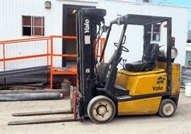 "Yale LP Forklift, Model #GLCO50RGN, 18,848 Hours, 48"" Forks, 4 Stage Mast, 20' Lift, New Valve Cover Gasket, Minor Antifreeze Leak, To Be Picked Up By Appointment After Loadouts"