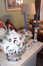 Portmeirion Tureen with Ladle, Candlesticks and serving Dishes.