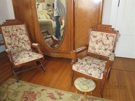 Vintage platform rocker and chair
