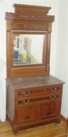 Victorian Marble Top Washstand w/Mirror