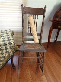 vintage pressed back rocker, needs new cane seat