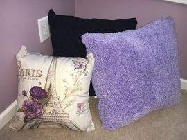 Decorative toss pillows. (Paris pillow sold)