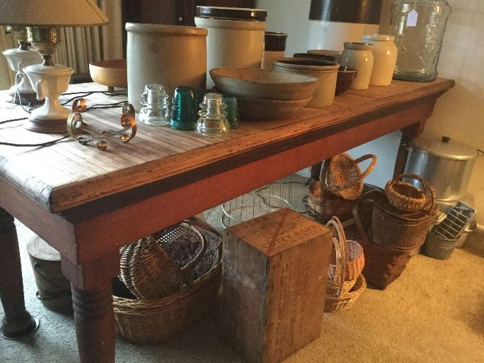 Fabulous butcher block meat shop peninsula table. This item will be on bid.
