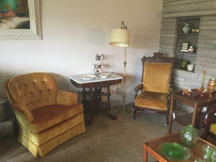 Gold tufted chair, Eastlake table, Eastlake platform rocker