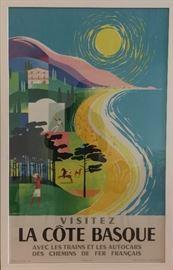 French Automobile & Railways Travel Poster, La Cote Basque
