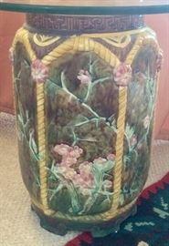 Majolica garden seat/accessory table