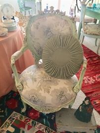 """Chair & Accent pillow, Originally from """"Shabby Chic by Rachel Ashwell"""""""