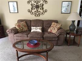 Micro Fiber Sofa, Coffee Table, End Table, Lamp
