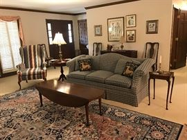 Sofa, Pair of Wing Back Chairs, Drop Leaf Coffee Table, Drum Table