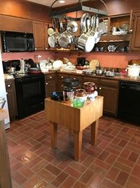 Butcher Block Island, Kitchen Gadgets, Pots and Pans, Crocks, Corning ware, etc.