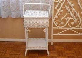 BUY IT NOW!  LOT #206, White Wicker Sewing Basket Table, $35