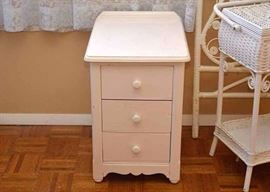 BUY IT NOW!  LOT #207, Small White Painted 3-Drawer Chest, $40