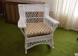 BUY IT NOW!  LOT #209, White Wicker Rocking Chair with Cushion, $65