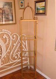BUY IT NOW!  LOT #208, Tall Gilt Metal Etagere / Display Shelf, $85
