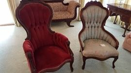 Beautiful deep red gentleman's chair and brocade lady's chair - mahogany and very old