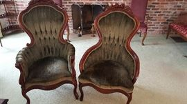 Matched pair - lady and gentleman's upholstered mahogany chairs - excellent condition.