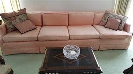 Lovely upholstered sofa - measures 8 feet from inside arm to arm.  Beautiful inlaid table in the foreground.