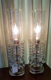 Very nice pair of tall glass lamps with prisms and etched shades - circa 1940's.