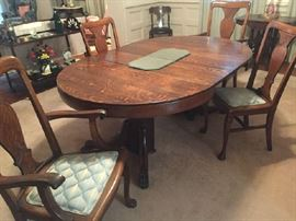 Early dining table and chairs