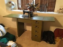 Necchi sewing machine in cabinet
