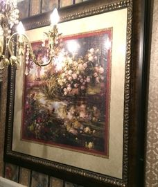 Lush floral triple mat wall art in faux burl gilt accented frame.