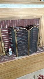 Fireplace grate & andirons