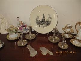 Pewter candlesticks, Vintage Lenox plate, Hummel Madonna and other Vintage items