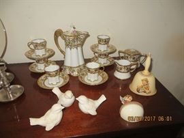 Vintage Chocolate set ( note the chocolate pot is missing the original top )  Plus hummel birds, bell and wall pocket