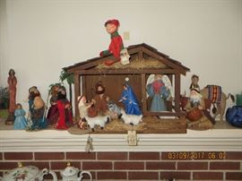 "Vintage Annalee Dolls  ""Christmas Nativity consisting of over 15 pieces"" Plus the Crib.  THESE ITEMS WERE  SOLD ON LINE PRIOR TO THE 2 DAY SALE"