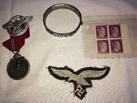 Nazi bracelet, Hitler stamps, Luftwaffe Eagle patch
