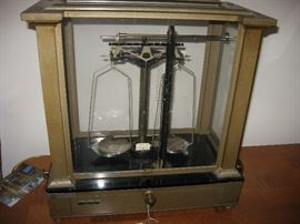 .Vintage Brass and Glass scale BY Fisher Scientific Co.